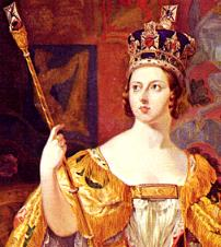 A young Victoria is depicted at her coronation, , .