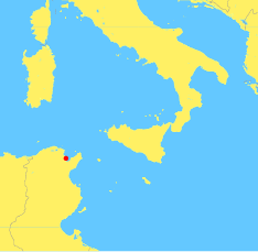 A map of the central , showing the location of Carthage (near modern ). The map also shows  and the islands of , , and .