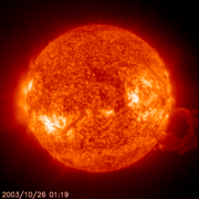Large solar flare recorded by  EIT304 instrument in the . (Animation (980kB MPEG)).