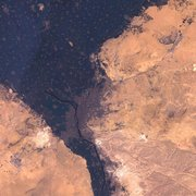 A simulated-color satellite image of Cairo, Egypt, taken on NASA's Landsat 7  satellite.