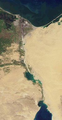 Suez Canal, seen from Earth orbit, courtesy NASA.