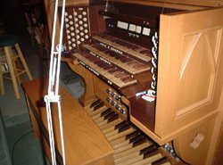 The organ console at , , .