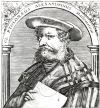 Claudius Ptolemaeus, given contemporary  styling, in a  engraved book frontispiece