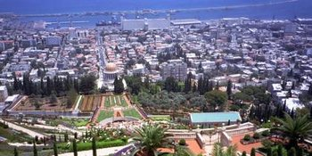 Haifa Bay from atop Mt. Carmel looking down past the Bah�'� Shrine and Gardens