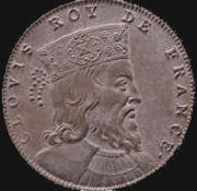 "Non-contemporary coin with obverse legend ""Clovis Roy de France"""