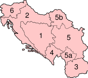Numbered map of Yugoslav republics and provinces