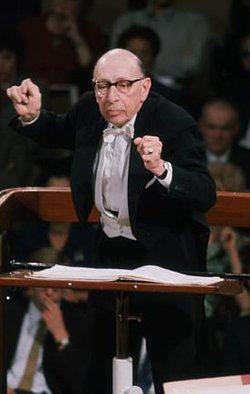 Stravinsky is shown here conducting the  through .